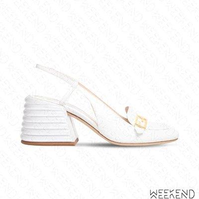 【WEEKEND】 FENDI Promenades 鱷魚紋 皮革 露根 高跟鞋 白色 20春夏