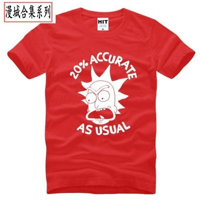 動漫男式T恤 瑞克和莫蒂 Rick And Morty 20% Accurate As Usual judoo