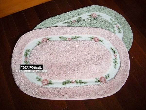 粉紅玫瑰精品屋~田園風格玫瑰花朵橢圓地墊/可洗衣機洗防滑墊-