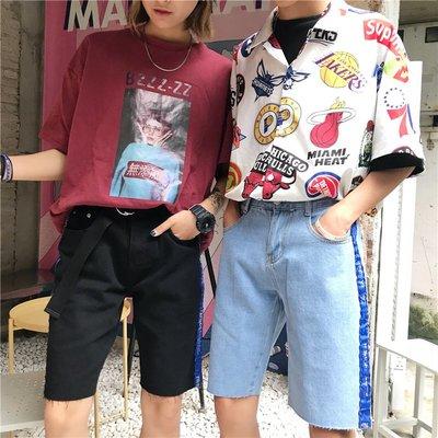 夏季原宿百搭織帶高腰寬松五分褲學生情侶 牛仔短褲男女