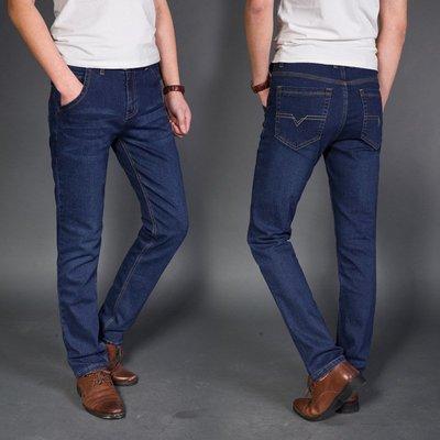 春秋牛仔褲男直筒高彈力修身商務男式牛仔長褲男士牛仔褲 Y3086