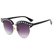[馳騁]2001現貨7-11全家快速到貨韓國韓版鏡框墨鏡太陽眼鏡鏡框新款珍珠裝飾裝飾貓眼鏡框太陽鏡潮 歐美街拍潮流墨鏡女
