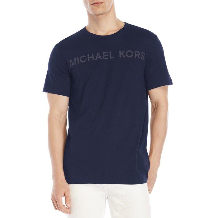 美國百分百【全新真品】Michael Kors 短袖 T恤 MK 上衣 T-shirt 深藍 logo M號 I339