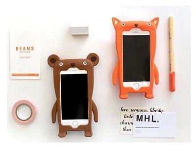 蝦靡龍美【PH280】韓款狐狸小熊 iPhone 5/5S 4/4S 立體防摔手機軟殼 保護套 皮套