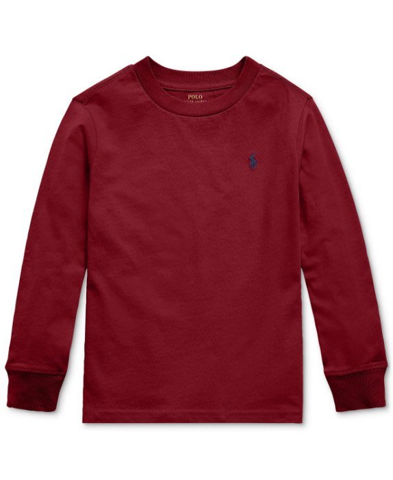 全新美國Polo Ralph Lauren 酒紅色繡馬長袖上衣 大童L