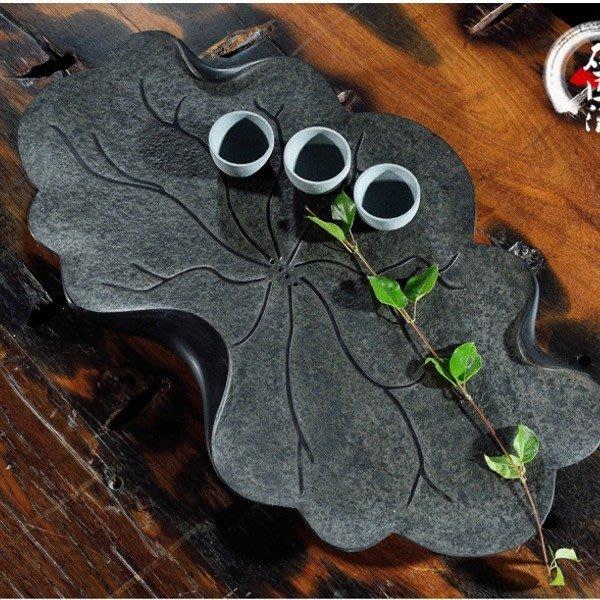 5Cgo【茗道】含稅520606443166天然烏金石茶盤整塊石頭黑金石排水茶台茶海茶船禪荷花蓮花花瓣 50*30A