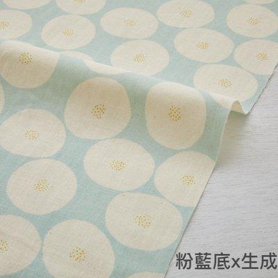 日本 MUDDY WORKS 生成x粉藍底  紅豆麵包 二重紗(半米50x110cm=260元)