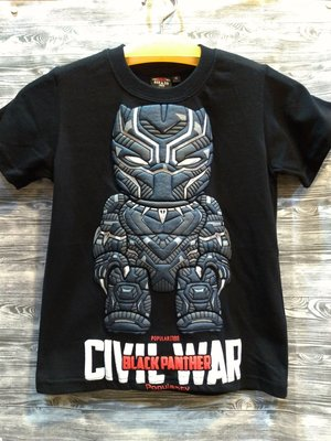免運費 親子裝 翻玩 復仇者聯盟 黑豹 立體印刷 黑色 T恤 台灣製造 棉100%