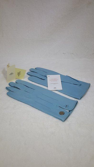 *旺角名店* ㊣ Hermes 全新 天空藍 babyblue 外縫線 羊皮手套