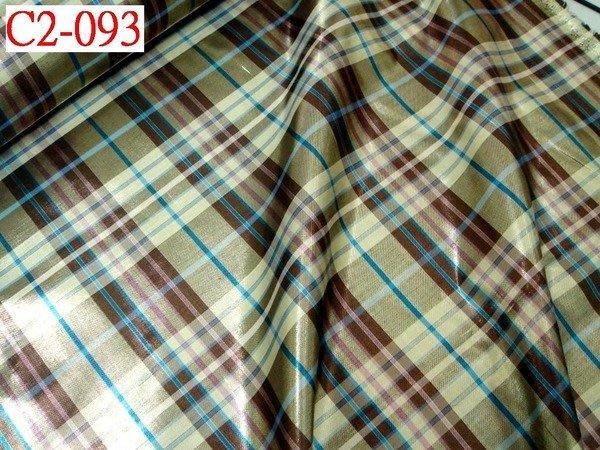 【CANDY的家2館】布料布飾拼布批發零售--精選布料C2-093☆春夏流行金蔥棉格裙褲料☆