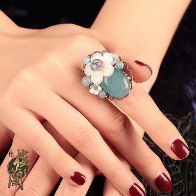 古風中國風戒指食指貝殼花朵復古小清新開口可調節指環手飾品女 IV3170