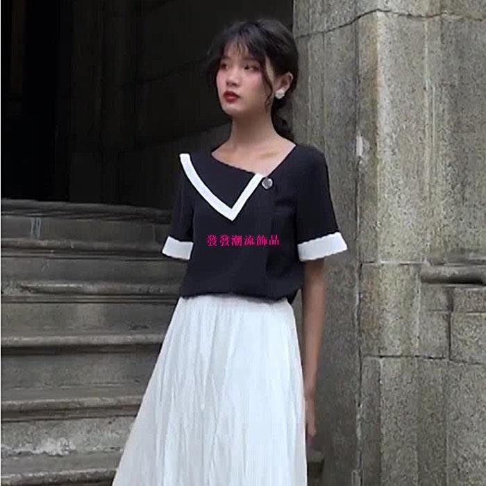 發發潮流飾品鹿向南短袖女夏季新款設計感小眾上衣正韓寬松顯瘦黑白拼接雪紡衫