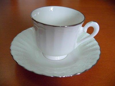 日本製 NORITAKE  白瓷銀邊骨瓷杯組1客/ 2pcs(絕版品)