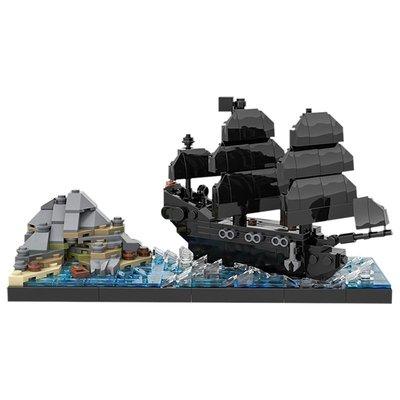 新風小鋪-BuildMOC加勒比海盜黑珍珠號的詛咒場景船兼容樂高拼裝積木玩具