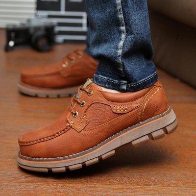 ZIHOPE 戶外男鞋秋季牛皮商務大頭鞋耐磨工裝真皮鞋子男士增高潮鞋爸爸鞋ZI812