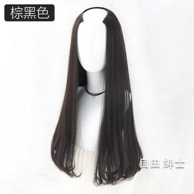 假髮女長卷髮內扣半頭套長直髮黑中分隱形無痕自然蓬鬆