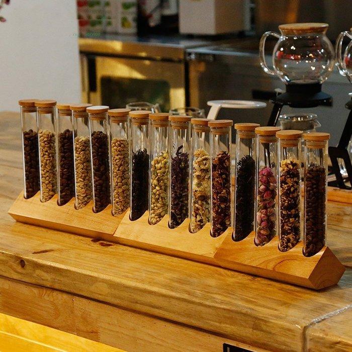 [C.M.平價精品館]六合一潔淨廚房木質立式玻璃密封蓋試管造型食品雜糧儲物罐/調味瓶展示罐