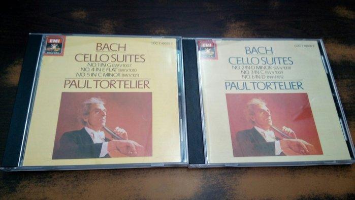 好音悅 Tortelier 托特里耶 BACH 巴赫 巴哈 無伴奏大提琴組曲全輯 EMI 2張高價 英版 無IFPI