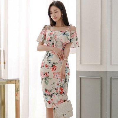 正韓 連身裙 名媛 上班族套裝時尚甜美花朵吊帶 露肩 上衣+高腰 包臀半身裙女裝