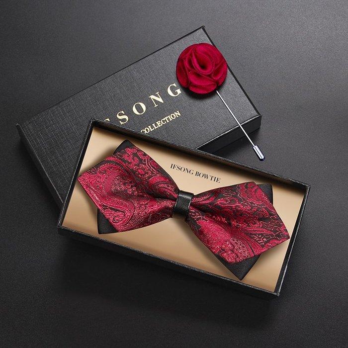解憂zakka~ 酒紅色花紋新郎領結男正裝結婚伴郎宴會時尚胸針高檔婚禮菱形領結#领带#领结