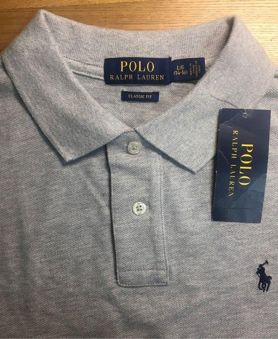 全新美國 Ralph Lauren Polo 灰色繡馬網眼長袖polo衫 大童L