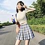 百搭 潮流 時尚 文藝 韓版韓版時尚休閑套裝夏季女裝修身彈力T恤+高腰 百褶裙短裙兩件套