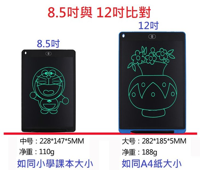 送保護套【12吋】液晶手寫板 LCD Writing tablet 手繪板 塗鴉板 留言板 記事 算數遊戲