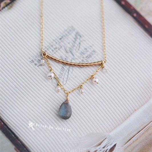 FJ83-法式手工輕珠寶-拉長石系列之一。拉長石+淡水珍珠項鍊va agete leboy