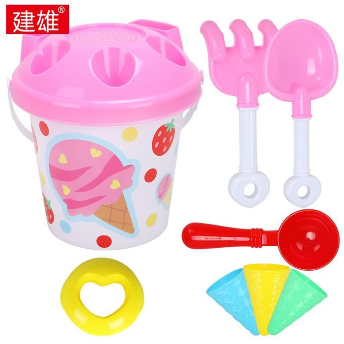 兒童沙灘玩具桶套裝大號寶寶玩沙子挖沙漏鏟子工具冰淇淋玩具