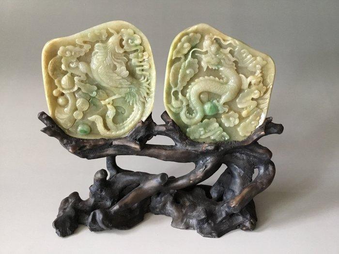 *藏雅軒*早期收藏老件-緬甸玉雕刻擺件-三彩蜜糖黃-龍鳳呈祥