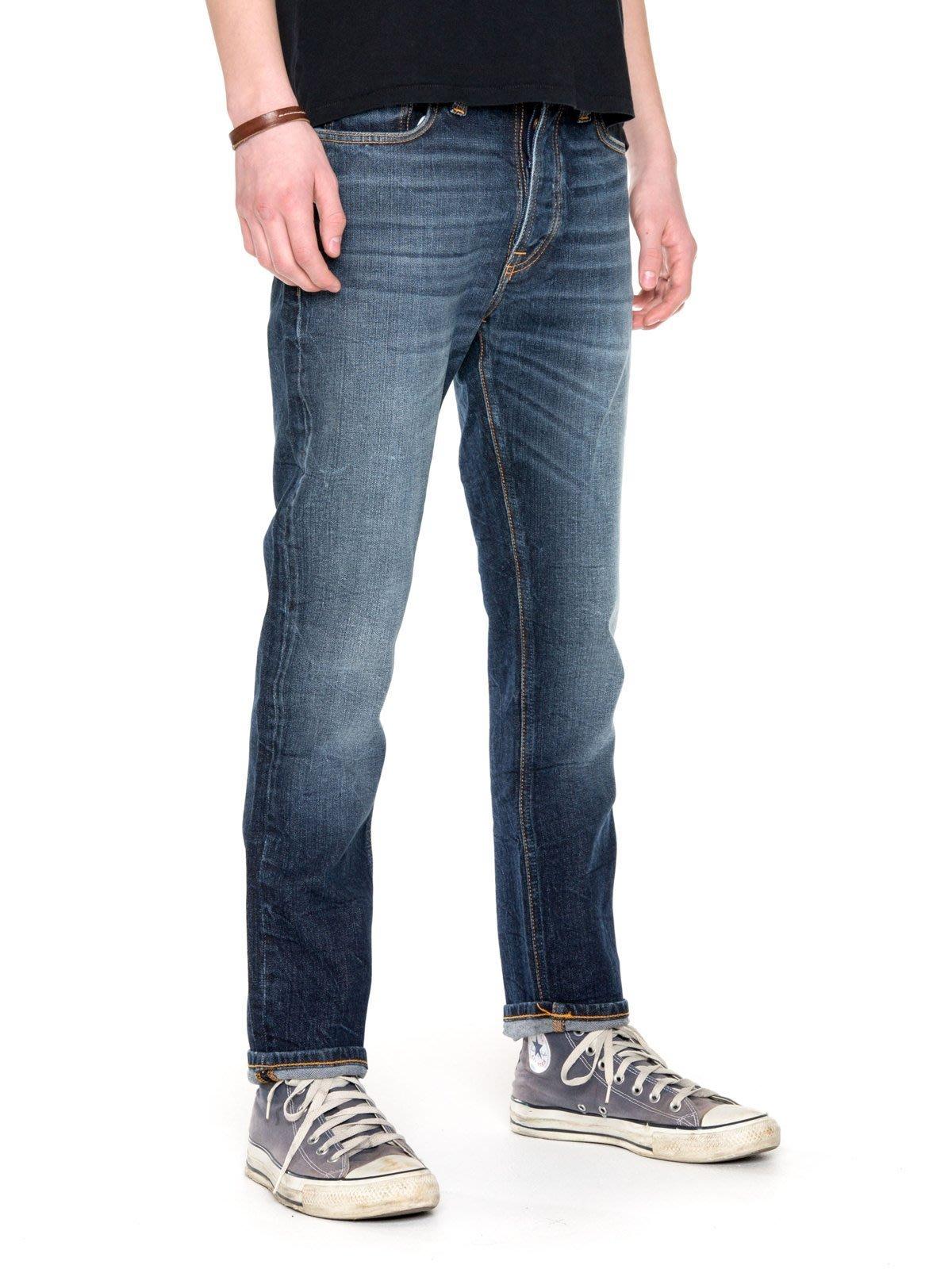 (預購商品) NUDIE DUDE DAN DARK FUZZ 新款 深藍 刷白 合身 直筒 牛仔 丹寧 長褲 牛仔褲