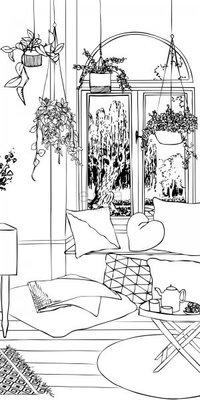 【Uluru】歐洲期貨壁紙.童趣 drawing living room 客廳 黑白 手繪 兒童房 壁紙 HE106系列