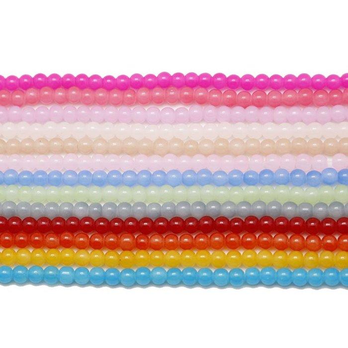 雜貨小鋪 diy玻璃圓珠散珠 4/6mm烤漆珠子 手工自制步搖發簪材料配件零件!十件起售!