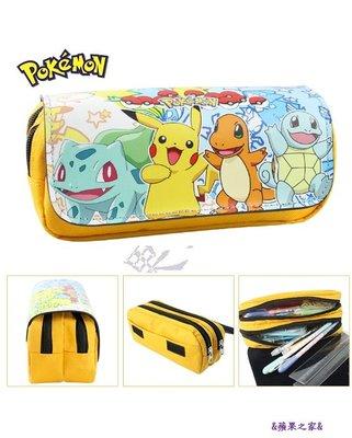 &蘋果之家&現貨-萌噠噠!Pokemon系列雙層拉鏈筆袋-多款可選喔!^^