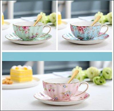 英式小碎花玫瑰金邊陶瓷花茶杯盤組 四款...