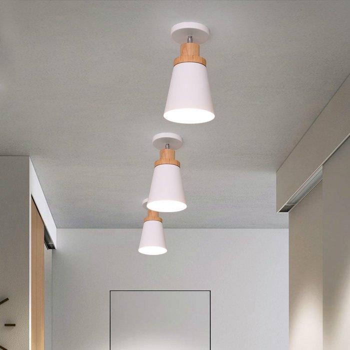 北歐走廊過道燈設計簡約馬卡龍燈具玄關衣帽間木質旋轉陽臺燈【6-700源家精品】
