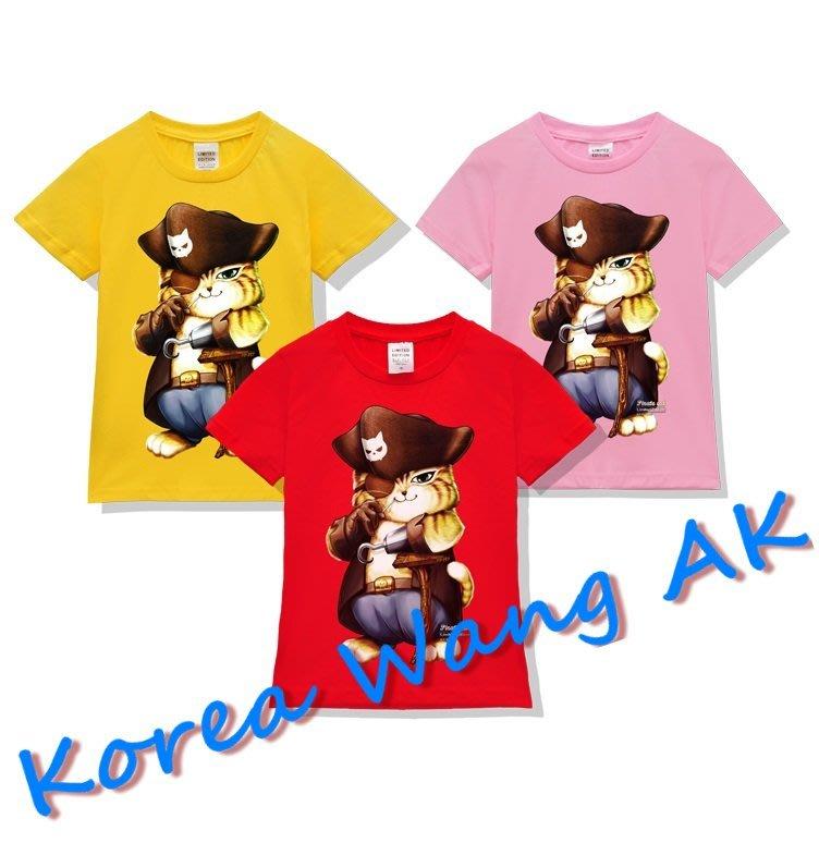 Korea Wang AK ~(預購)台灣原創獨家設計 100%純棉限定版神鬼傳奇海賊貓兒童青少年版T 六款【P006】