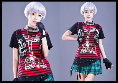*mini PUNK LOLO*龐克個性街頭-魔界都市骷髏頭反叛者條紋背心假二件T恤(紅黑.71332)PUNK