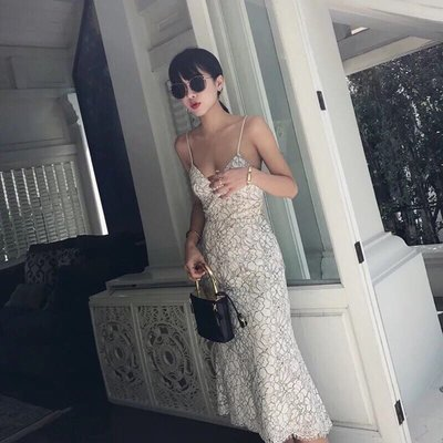 性感低胸蕾絲細肩帶洋裝長洋裝氣質吊帶合身裙連身裙長裙小禮服婚禮宴會晚宴party夜店