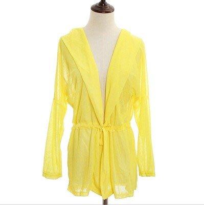 夏季購物優惠: 買5送1@夏日薄款LYCRA系帶防曬外套 NO:04 黃色 $70/件