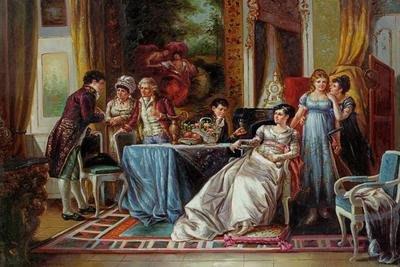 三幅一組油畫布 歐式宮廷聚會古典復古人物 畫芯/畫布/30X40☺暖暖屋☺傢居藝術館