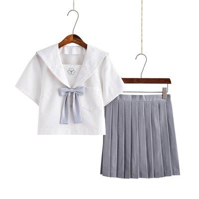 日系小清新幸运草白二本水手服女高校班服软妹服JK制服裙学生套装(短袖上衣+裙子)