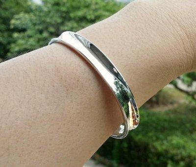 嗨,寶貝銀飾珠寶* 925純銀☆999純銀 內凹造型 簡約 實心 開口純銀手環 手鐲