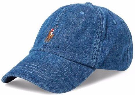 全新美國名牌 Polo Ralph Lauren 藍色丹寧棉質棒球帽,單一尺寸,只有一件,低價起標無底價!本商品免運費!