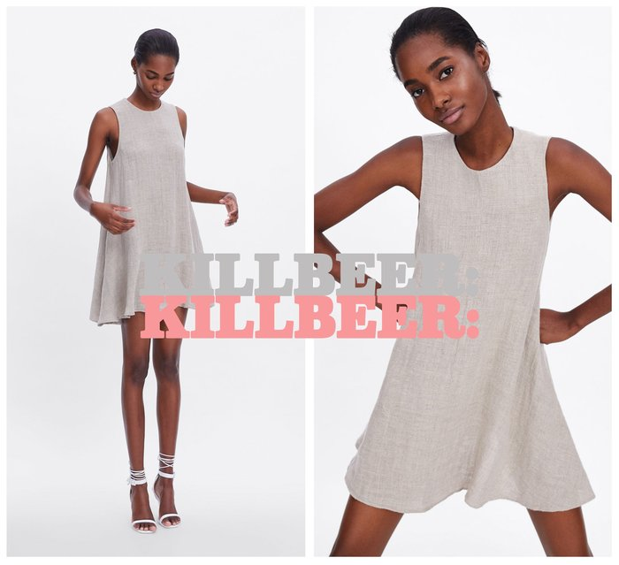 KillBeer:漂丿的都市名媛之 歐美復古自然風率性純色棉麻垂墜感立體剪裁顯瘦連身裙洋裝061702