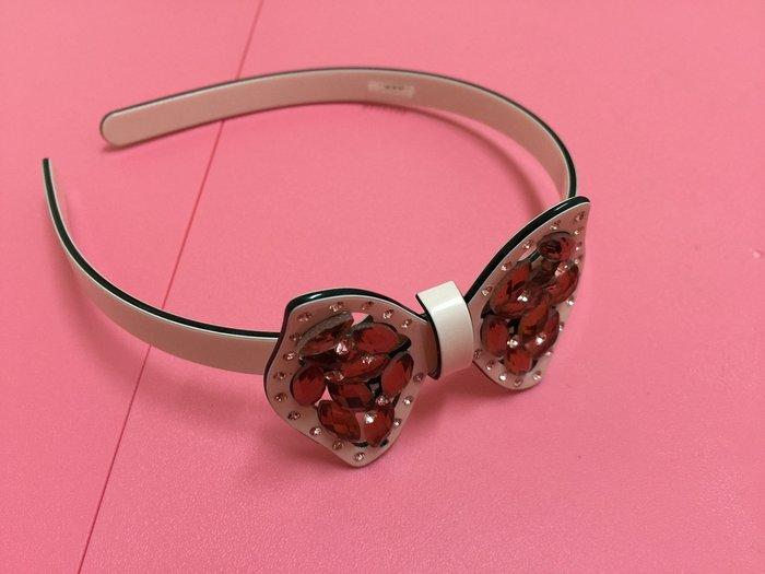 『飾品』粉色蝴蝶結硬體髮箍〞