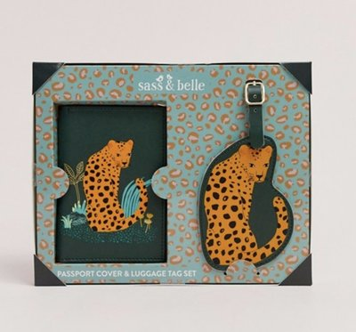 [SECOND LOOK]英國雜貨 Sass & Belle 深綠色 花豹圖案 復古 行李吊牌組