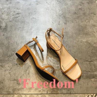 Freedom~女鞋一字帶涼鞋女2019夏季新款時尚透明綁帶露趾粗跟高跟鞋氣質仙女鞋