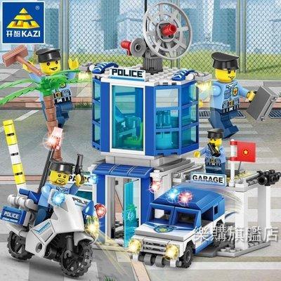 {超優惠}組裝積木開智積木兼容樂高4合1拼裝城市警察局系列組裝警車男孩子拼插玩具