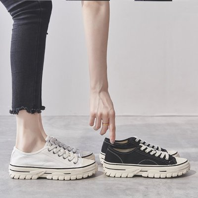 Fashion*休閒小白鞋 復古港味帆布鞋 韓版ulzzang百搭增高厚底鞋『黑色 白色』34-39碼